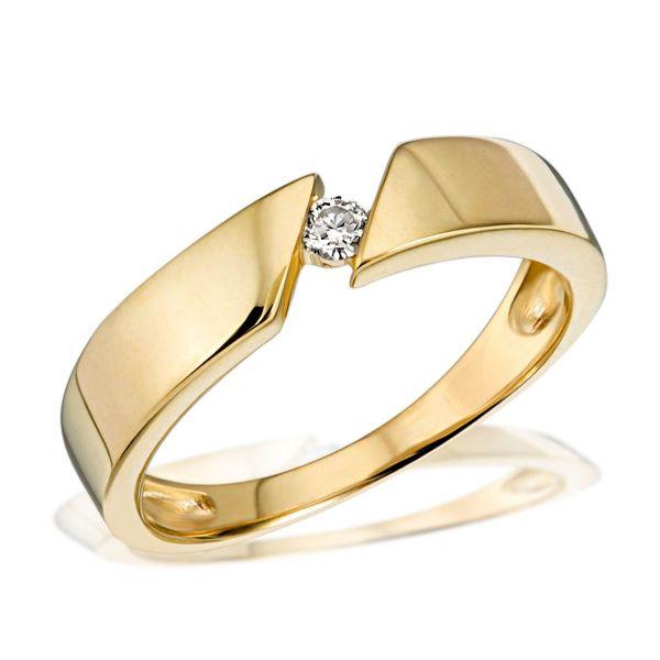 Damenring Solitär 585 Gelbgold Spannfassung 1 Brillant 0,07 ct.