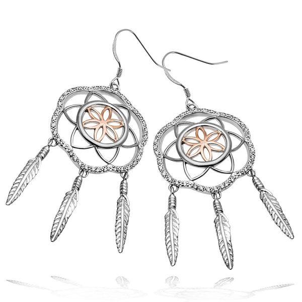 Paar Ohrhänger 925 Sterlingsilber 84 Zirkonia Traumfänger Design