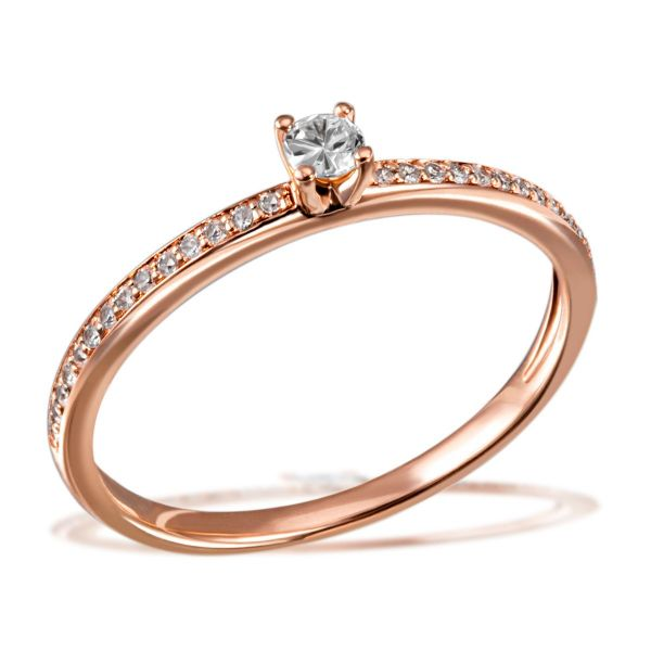 Damenring Verlobungsring Fabienne 585 Rotgold 29 Brillanten zus. 0,18 ct.