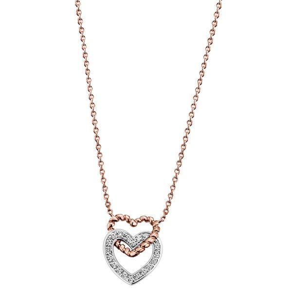 Halskette Collier Herz 585 Rotgold 19 Brillanten zus. 0,09 ct SI weiss