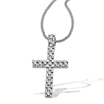 Collier Halskette Kreuz 925 Sterlingsilber 19 Zirkonia weiß Taufe Kommunion
