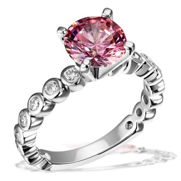 Damenring Fancy Pink 925 Sterlingsilber 16 weiße Zirkonia 1 pinker Zirkonia