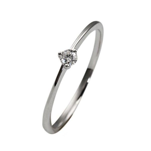 Goldmaid Solitär Ring Verlobungsring 375 Weißgold 1 Brillant 0,07ct. P2 weiss-Copy