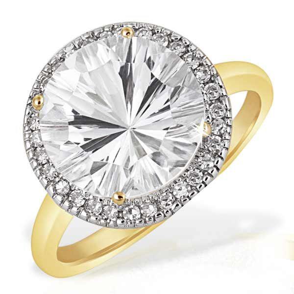Damenring Millenium 585 Gelbgold 1 Weißtopas 30 Diamanten zus. 0,20 ct. SI1/H