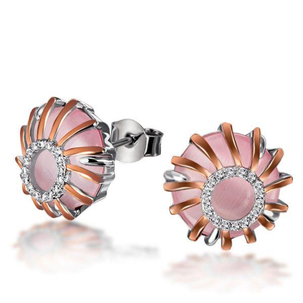 Paar Ohrstecker 925 Sterlingsilber teils rotvergoldet 2 Glassteine rosa 32 weiße Zirkonia