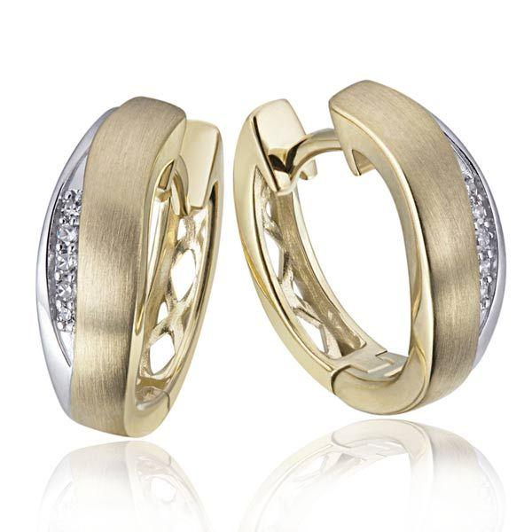 Paar Creolen matt 585 Gelb-/Weißgold 10 Diamanten zus. 0,04 ct. SI1/H