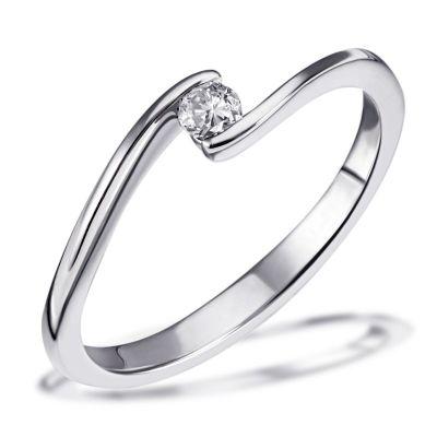 Damenring Solitär Verlobungsring Spannring 585 Weißgold 1 Brillant 0,10 ct.