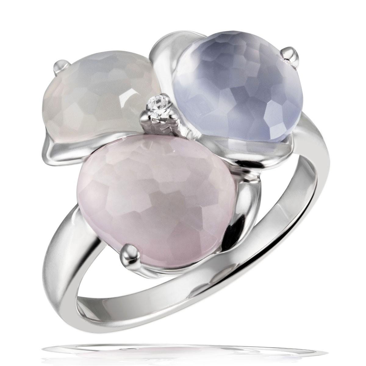Damen-Ring atemberaubende Doppelring Sterling Silber 925 natur Edelstein Safir