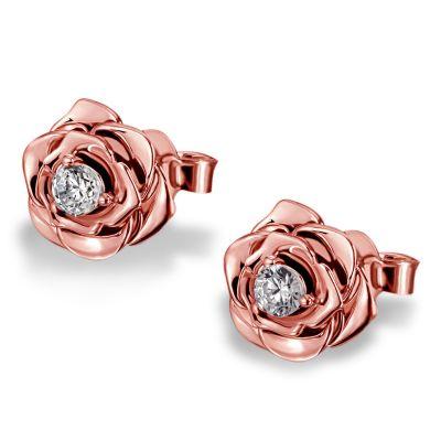 Paar Ohrstecker Lovely Rosé 925 Sterlingsilber teils rotvergoldet 2 Swarovski Zirkonia