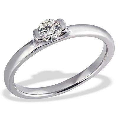 Damenring Verlobungsring 585 Weißgold 1 Brillant 0,25 ct. SI/H