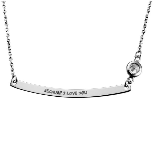 "Kette 925 Sterlingsilber ""BECAUSE I LOVE YOU"" 1 Zirkonia"