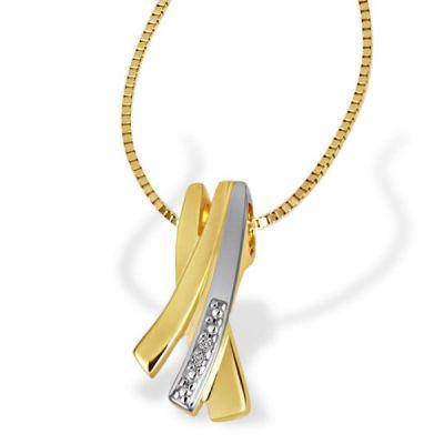 Collier Halskette Bicolor 585 Gold 2 Diamanten zus. 0,01 ct.