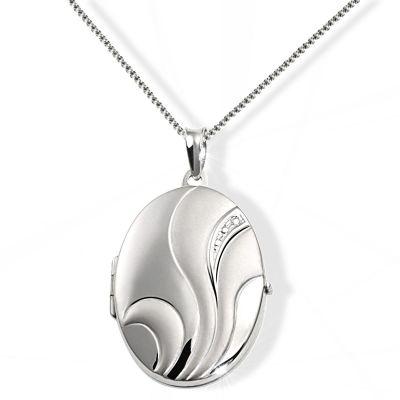 Collier Halskette 925 Sterlingsilber Medaillon Amulett Anhänger Schweif