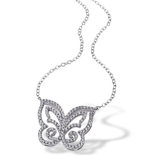 Collier Schmetterling 925 Sterlingsilber 116 weiße Zirkonia
