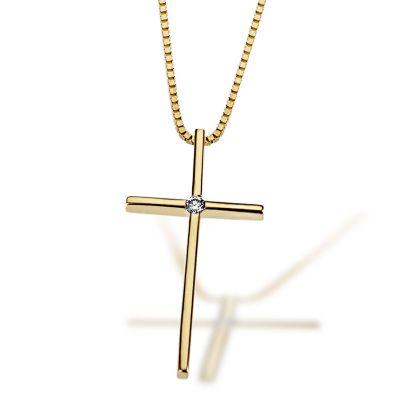 Collier Halskette 585 Gelbgold Kreuz 1 lupenreiner Brillant 0,02 ct. IF/KL