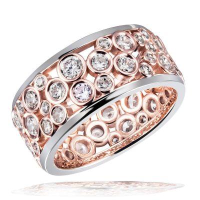Damen Ring 925 Sterlingsilber teils rot vergoldet 55 weiße Zirkonia
