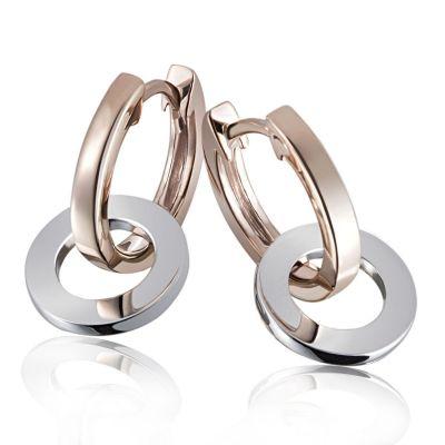 """Paar Creolen 375 Gold Ohrringe """"Bicolor Ringe Design"""" auch einzeln tragbar"""
