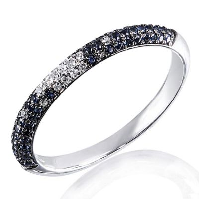 Damenring 585 Weißgold 20 Diamanten zus. 0,11 ct. SI1/H, 58 blaue Saphire