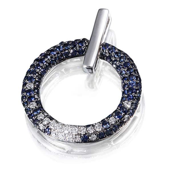 Anhänger 585 Weißgold 27 Diamanten SI/H zus. 0,14 ct., 90 Saphire zus. 0,54 ct. blau
