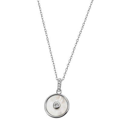 Collier Halskette 925 Sterlingsilber poliert Perlmutt 6 weiße Zirkonia Ankerkette
