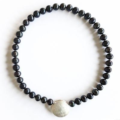 Damen Kette Süsswasser Perlen schwarz 11-12 mm, ca. 50 cm Länge