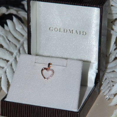 Anhänger Herz 585 Rotgold 13 Diamanten zus. 0.06 ct. SI1/H