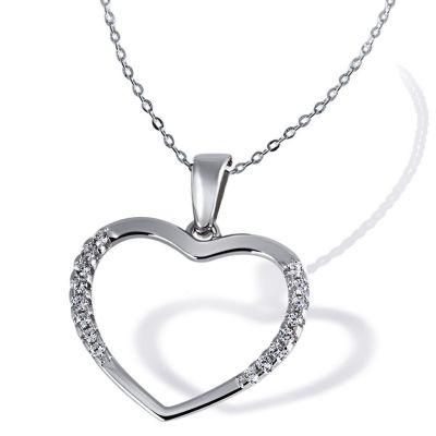 Collier Halskette Romantic 925 Sterlingsilber 16 Zirkonia weiß