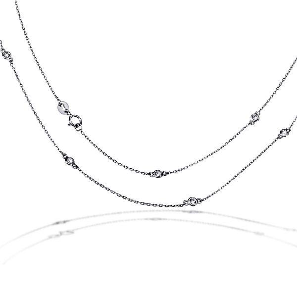 Collier Halskette 925 Sterlingsilber 9 Zirkonia weiß im zarten Design