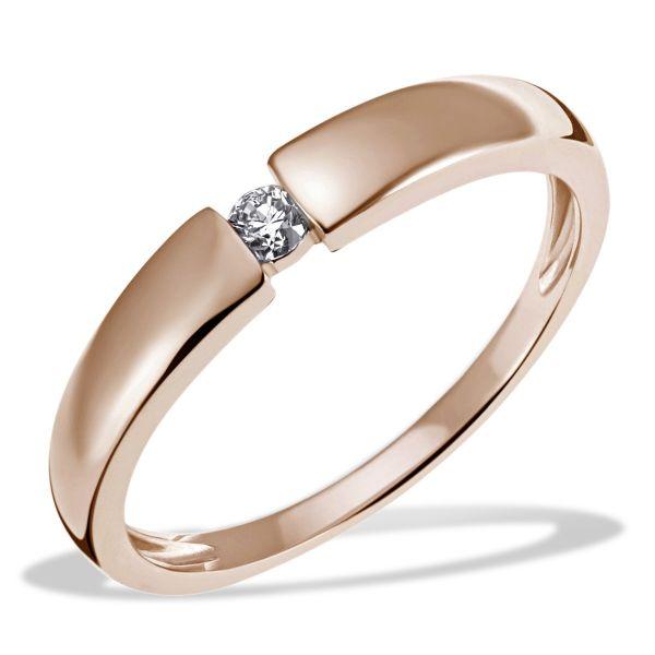 Damenring Verlobung Solitär 585/- Rotgold 1 Diamant 0,10 ct. SI1/H