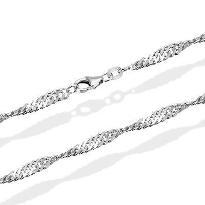Singapurkette Halskette Weissgold 585 Länge 45 cm
