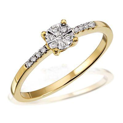 Damenring Glamour Verlobungsring 585 Gelbgold 15 Diamanten zus. 0,11 ct.