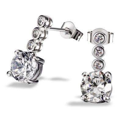 Paar Ohrstecker 925 Sterlingsilber Ohrringe 8 Zirkonia Zargenfassung