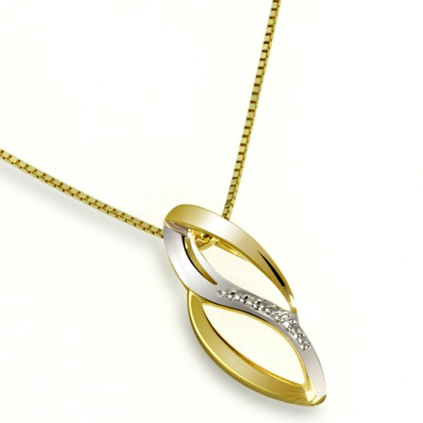 Collier Halskette Gold 585 Bicolor 2 Diamanten zus. 0,01 ct. SI1/H