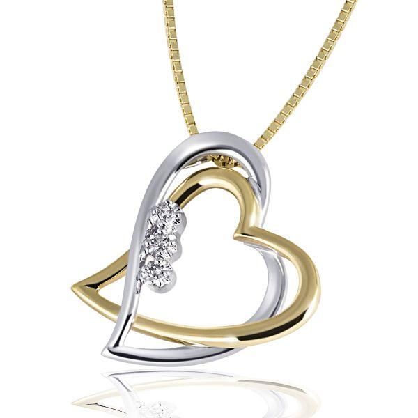 Collier 2 Herzen 585 Gold Venezianerkette Bicolor 3 Diamanten zus. 0,03 ct.