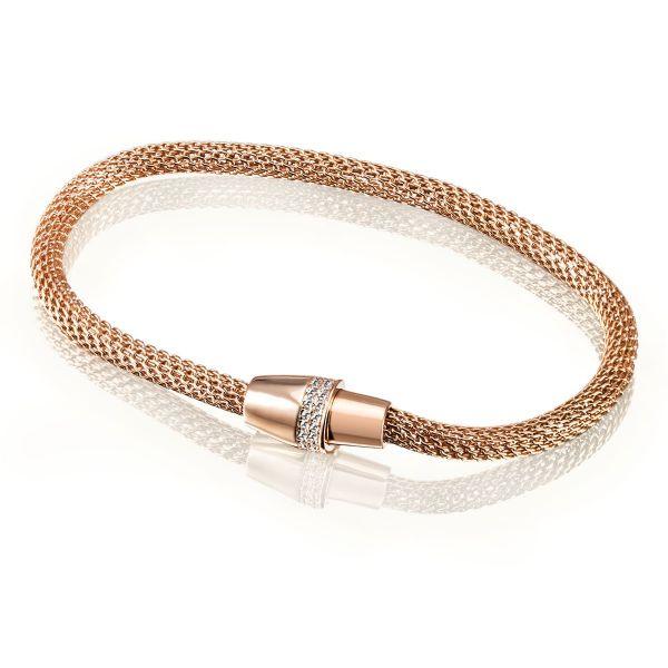 Schlauch-Armband 925 Sterlingsilber vergoldet 42 weiße Swarovski Zirconia Magnetverschluss