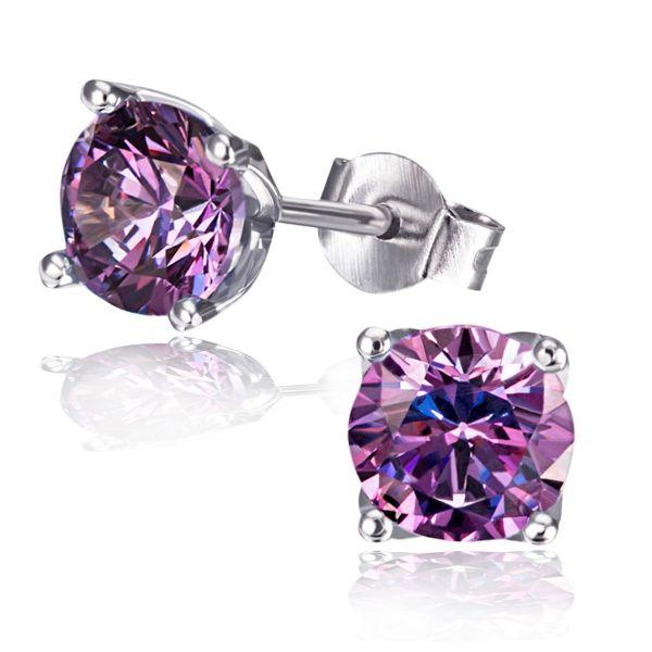 Paar Ohrstecker Purple Fancy 925 Sterlingsilber 2 lila Swarovski Zirconia