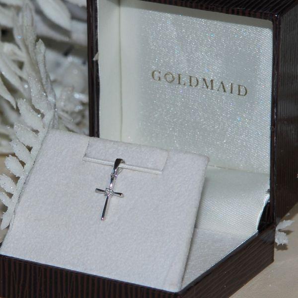 Anhänger Kreuz 585 Weißgold 1 Diamant 0.02 ct. SI1/H