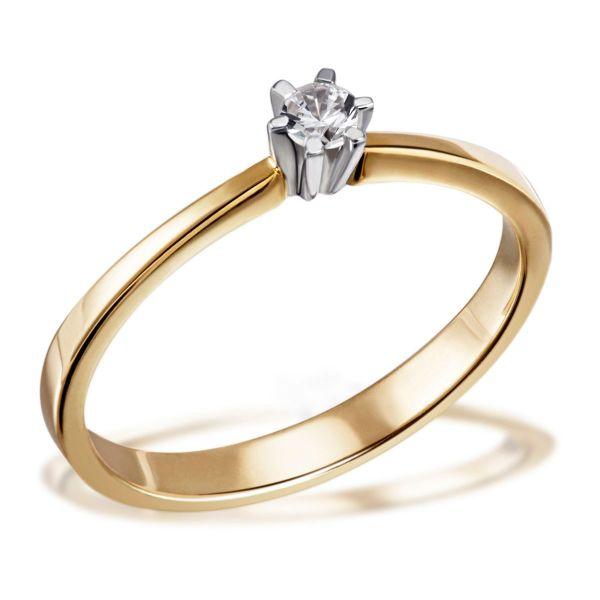 Damenring Solitär 585 Gelbgold 1 Brillant 0,10 ct. Verlobungsring