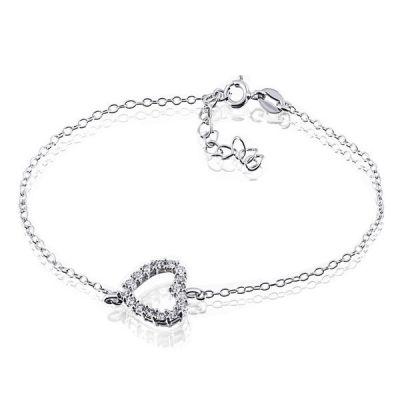 Armband Herz 925 Sterlingsilber 16 weiße Zirkonia