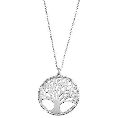 Collier Halskette 925 Sterlingsilber Lebensbaum 80 weiße Zirkonia Ankerkette