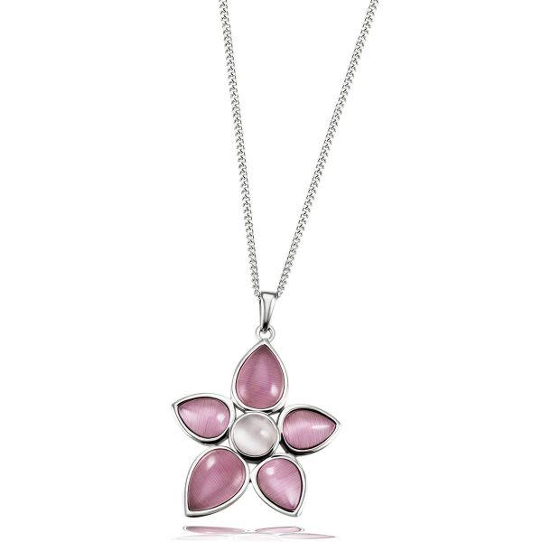 Kette mit Blumenanhänger 925/- Sterlingsilber 6 Glassteine