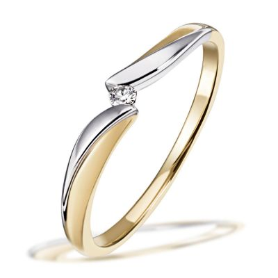 Damenring Bicolor 585 Gold 1 Brillant 0,02 ct. Verlobungsring