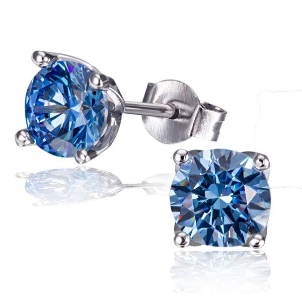Paar Ohrstecker Arctic Blue 925 Sterlingsilber 2 blaue Swarovski Zirconia