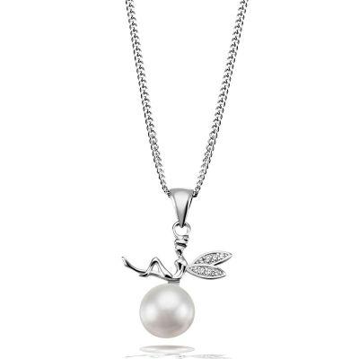 Collier Halskette 925 Sterlingsilber Elfe 1 Süßwasserzuchtperle weiß
