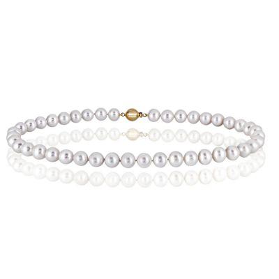 Collier Perlenkette 42 Süßwasserzuchtperlen 585 Gelbgold Kugelverschluss