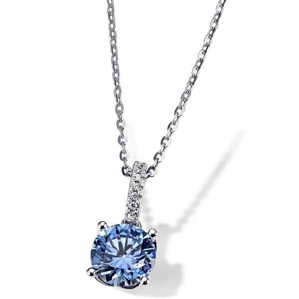 Collier Arctic Blue 925 Sterlingsilber gesetzt mit 7 weiße Zirkonia 1 blauer Swarovski Zirconia