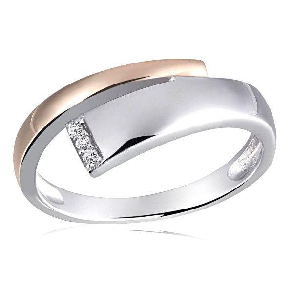 Damenring White Diamonds Bicolor 925 Sterlingsilber 3 Diamanten zus. 0,03 ct.