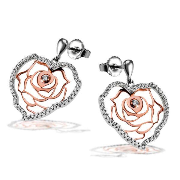 Paar Ohrhänger Herz 925 Sterlingsilber teils rot vergoldet 104 weiße Zirkonia