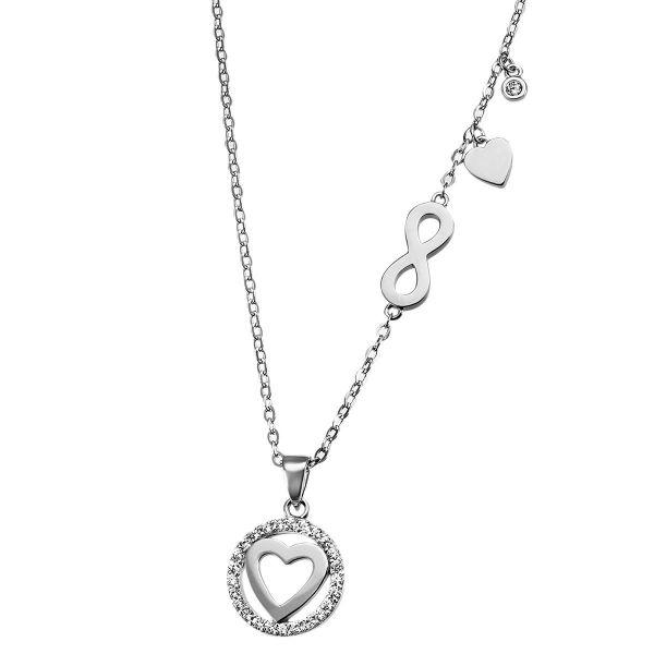 Kette mit Herzanhänger 925 Silber 26 Zirkonia