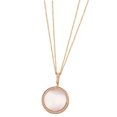 Collier 925 Sterlingsilber rot vergoldet Perlmutt rosé Zirkonia Doppelanker Halskette